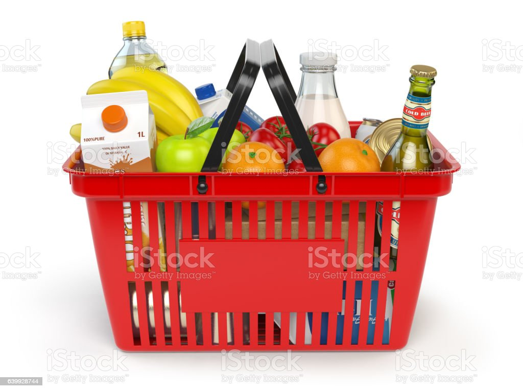 Shopping basket with variety of grocery products isolated on whi​​​ foto