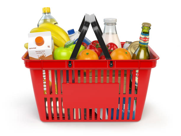 shopping basket with variety of grocery products isolated on whi - plein photos et images de collection