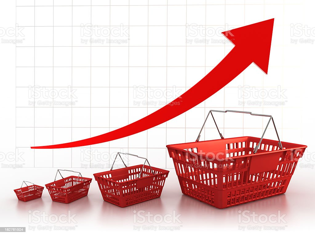 Shopping baskets increasing in size (Clipping path included) royalty-free stock photo