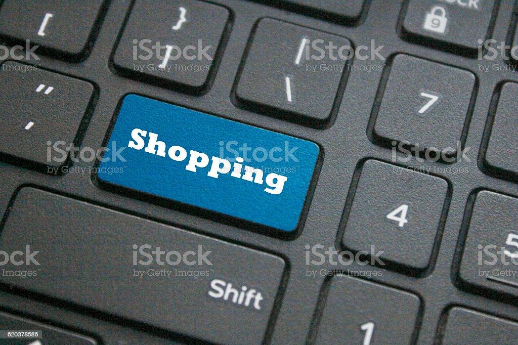 Botão de compras no teclado foto de stock royalty-free
