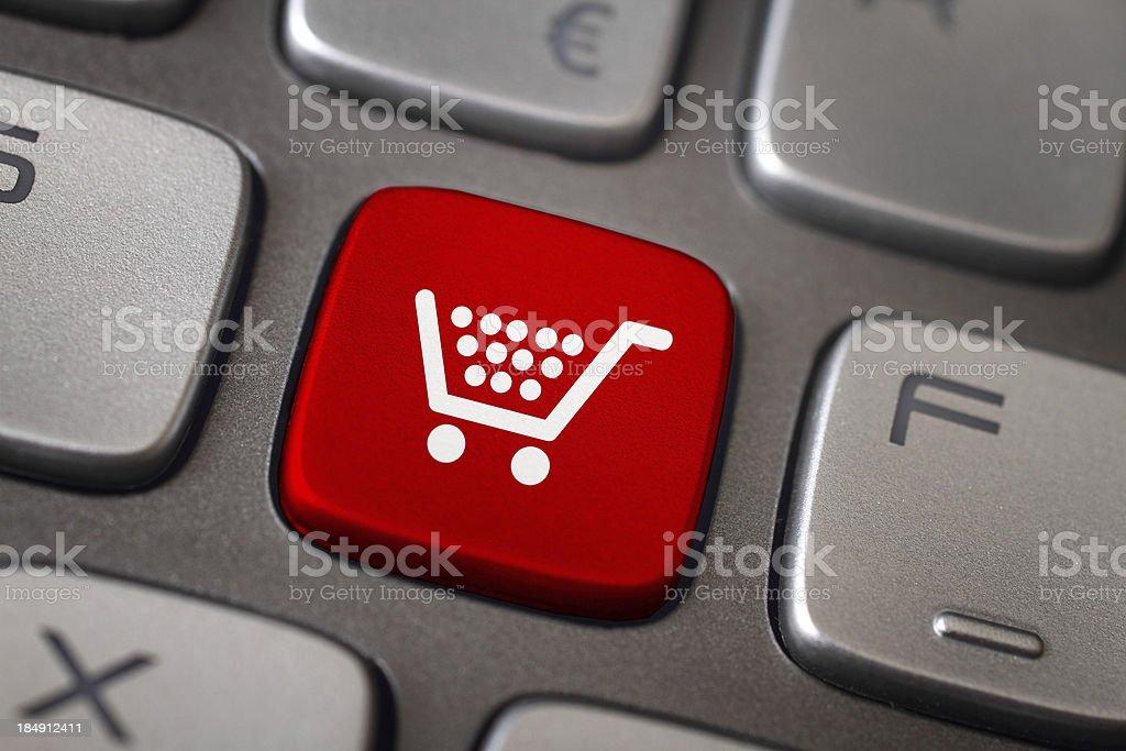 Shopping button stock photo