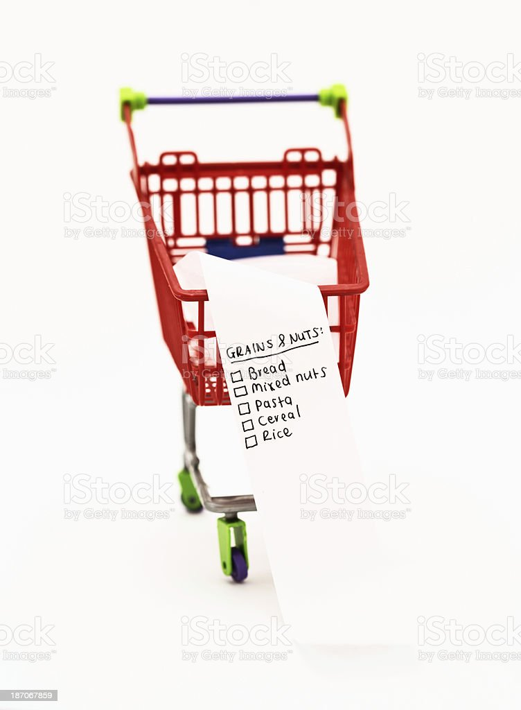 Shopping by food group: list headed Grains & Nuts royalty-free stock photo