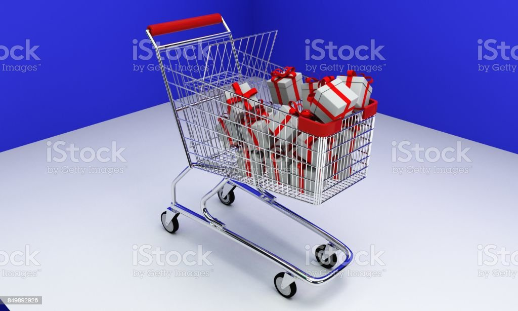 Shopping Car and gift boxes, 3d stock photo
