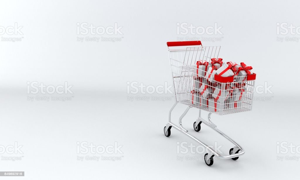 Shopping Car and gift boxes, 3d r stock photo