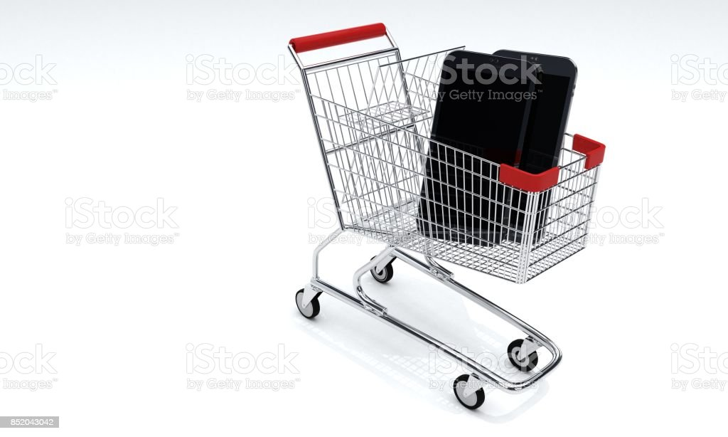 Shopping Car and mobil phone, 3d stock photo