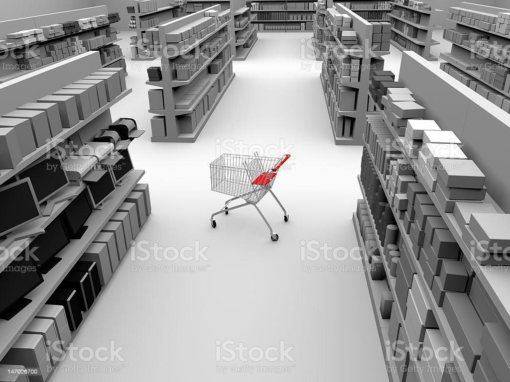 De compras en una tienda de pasillo - foto de stock