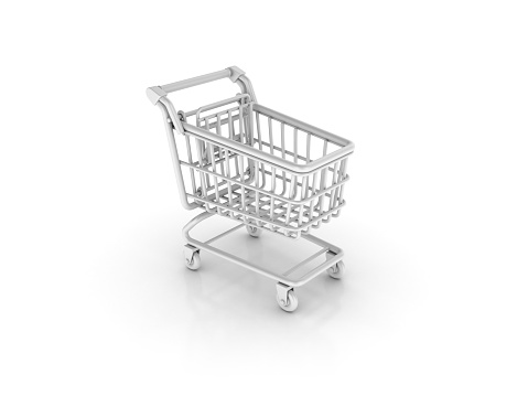 Shopping Cart - White Background - 3D Rendering