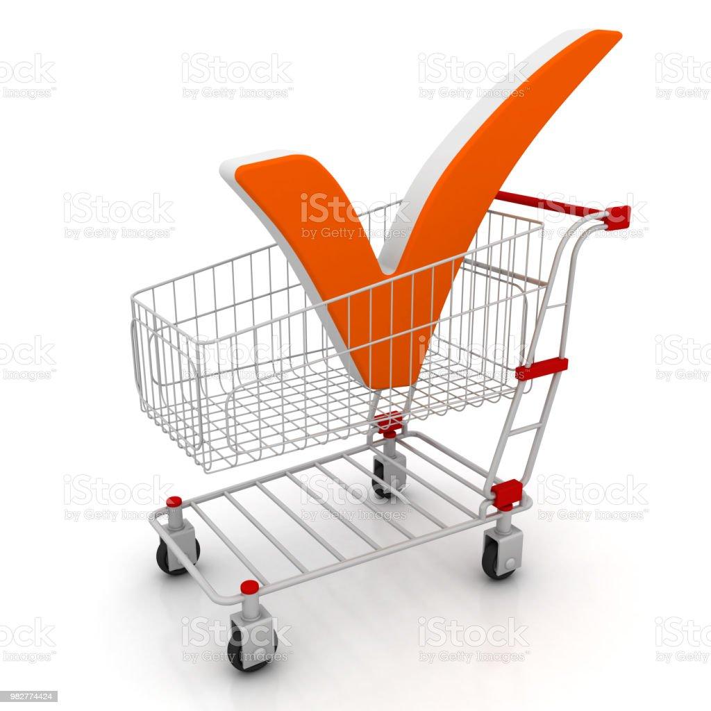 Shopping cart and check mark - conceptual image stock photo