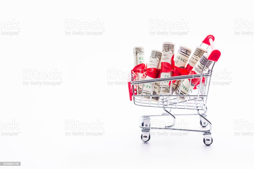 Shopping cart and dollar   on white background stock photo