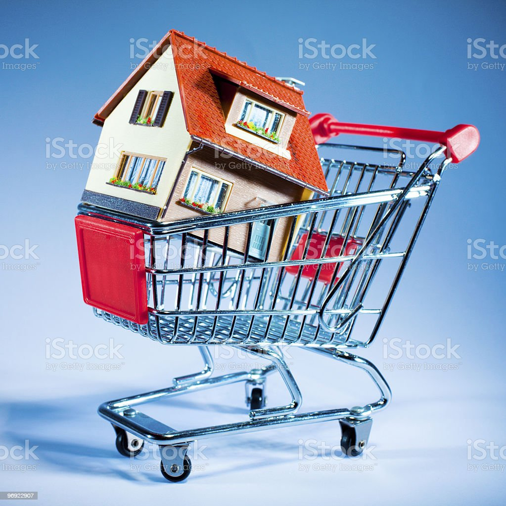 shopping cart and house royalty-free stock photo