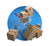 istock Shopping cart and packages 1222992585