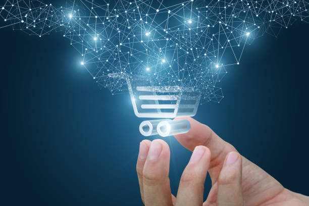 shopping cart as part of the network in hand . - icona supermercato foto e immagini stock