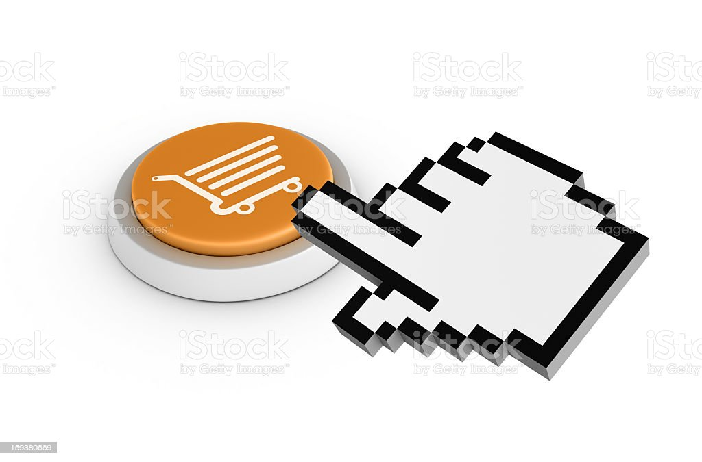 Shopping Cart Button with Cursor royalty-free stock photo