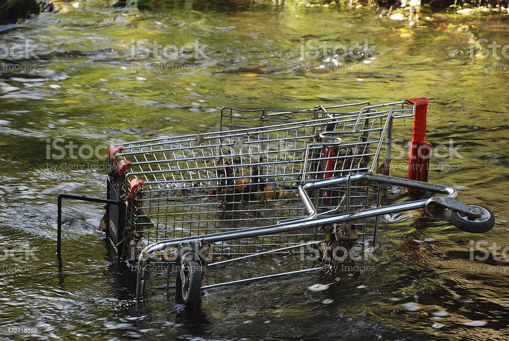 Shopping Cart Discarded in Stream stock photo
