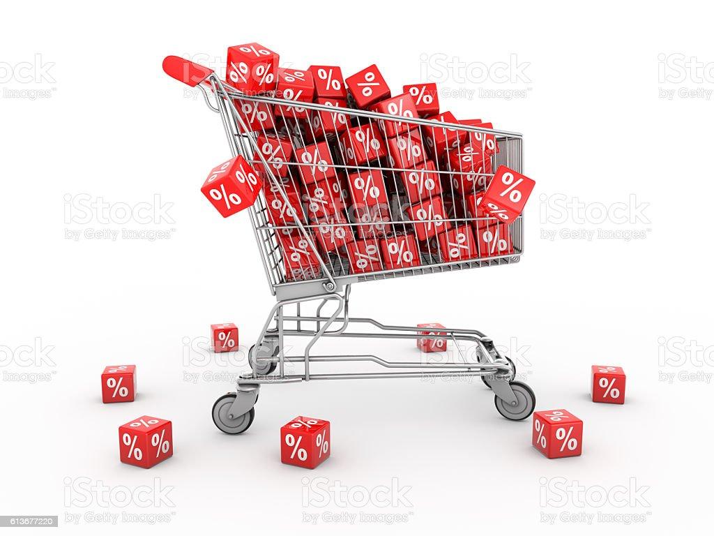 shopping cart filled with percentage.3d rendering - foto de acervo
