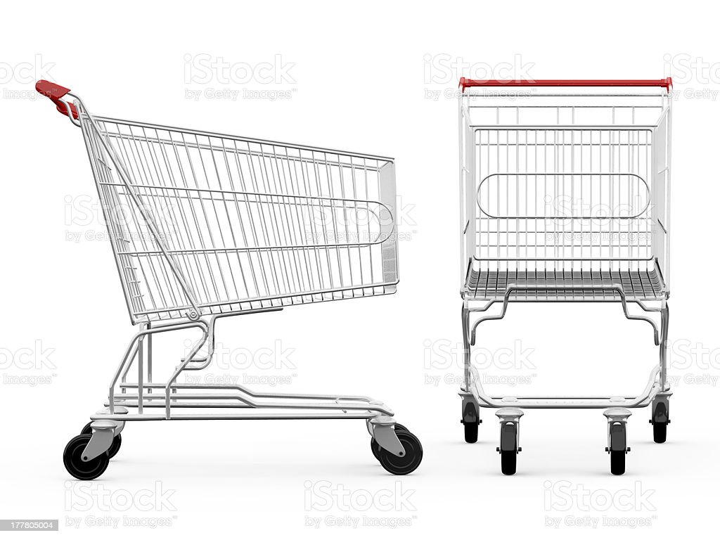 Shopping cart from side and front view stock photo