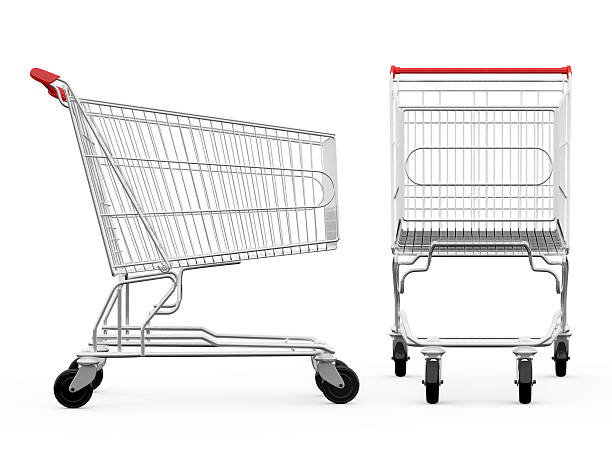 Shopping cart from side and front view Empty shopping carts, side view and front view, isolated on white background. cart stock pictures, royalty-free photos & images