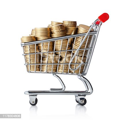 istock Shopping cart full of coin. Photo with clipping path. 1178304806