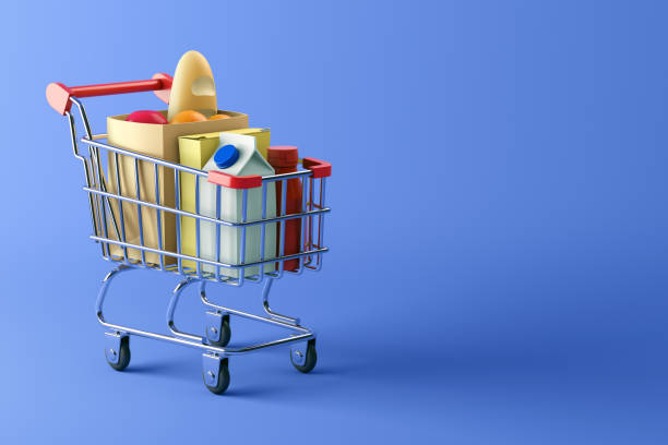 Shopping cart full of food on blue background 3d illustration cart stock pictures, royalty-free photos & images