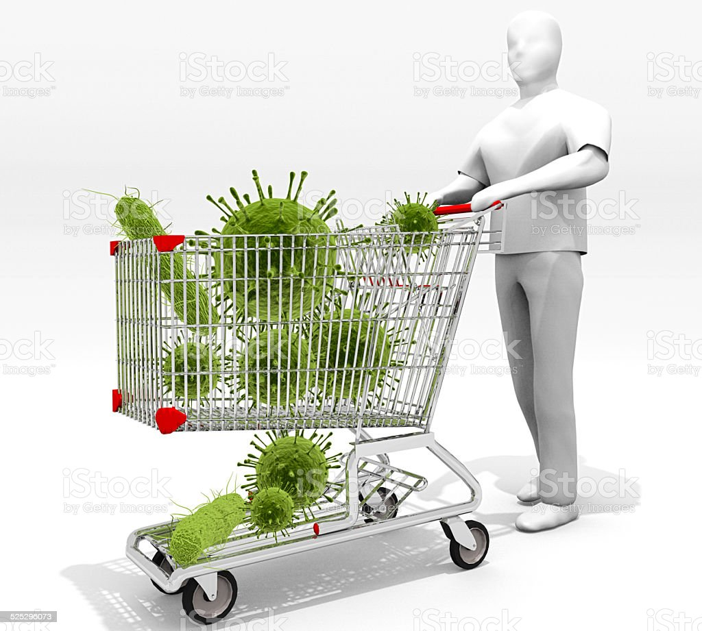 Shopping Cart Full Of Germs stock photo
