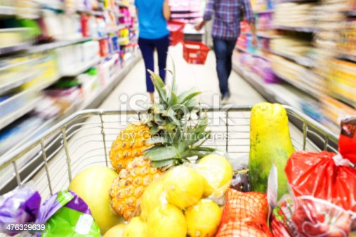 Istock Fruits In Shopping Cart With Woman Pushing It At