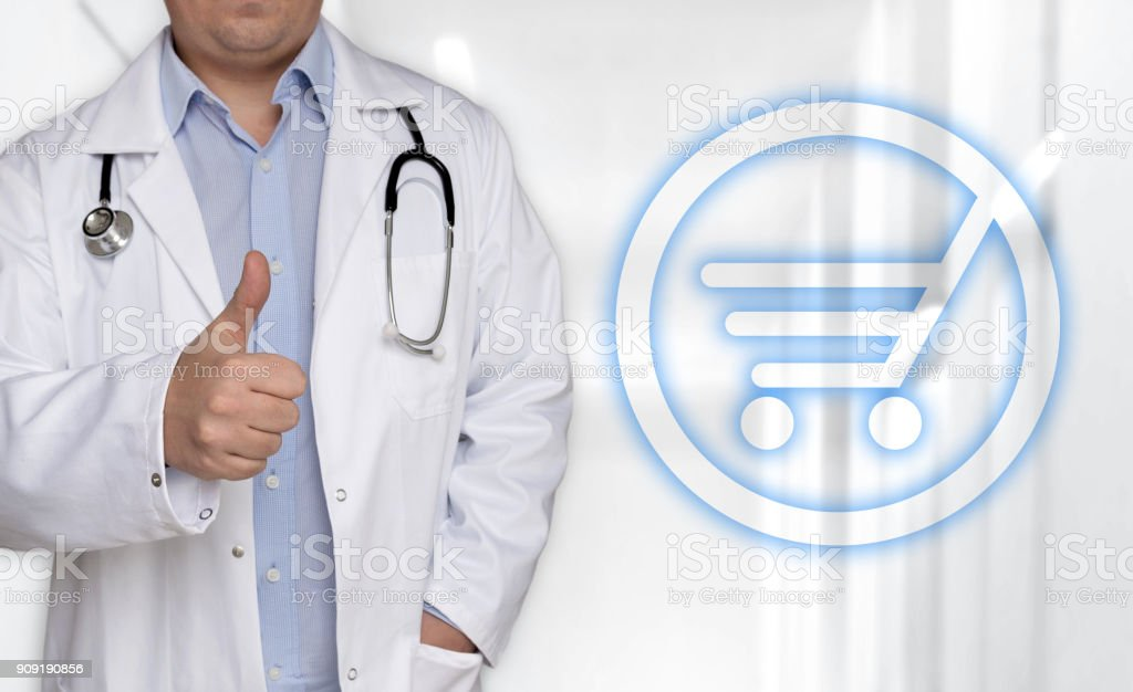 Shopping cart icon concept and doctor with thumbs up stock photo