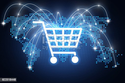 641289780 istock photo Shopping cart icon with lines pointing on different places around the globe, online shopping concept 822518448