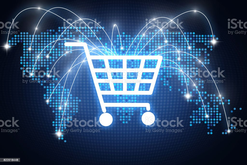 Shopping cart icon with lines pointing on different places around the globe, online shopping concept stock photo