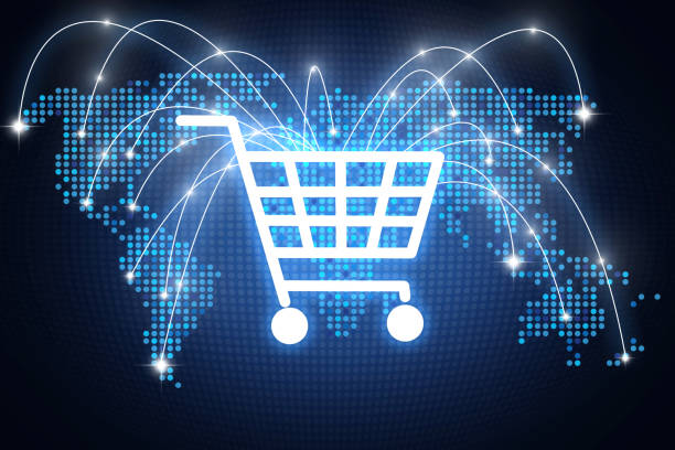 shopping cart icon with lines pointing on different places around the globe, online shopping concept - e commerce stock pictures, royalty-free photos & images