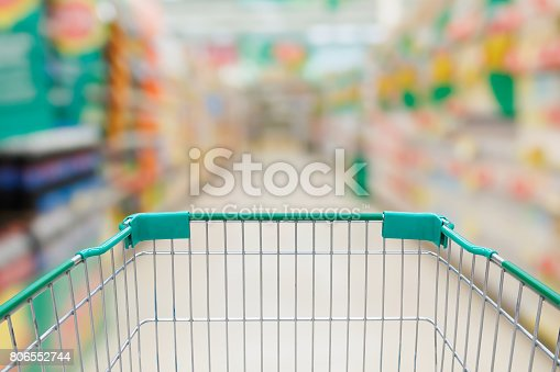 istock Shopping cart in Supermarket Aisle and Shelves in blur background 806552744