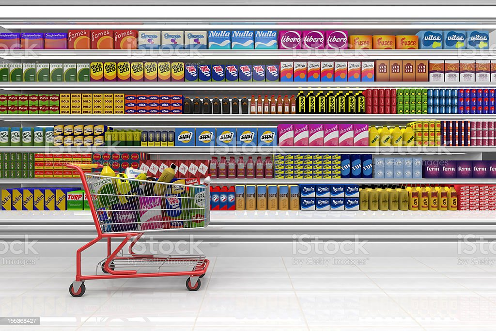 Shopping cart in the supermarket. stock photo