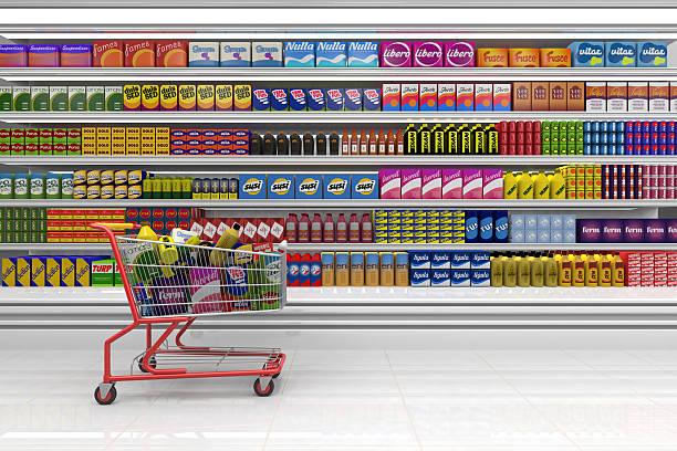 ショッピングカートには、スーパーマーケットます。 ストックフォト