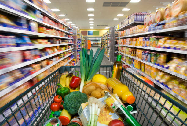 Shopping cart in the supermarket stock photo