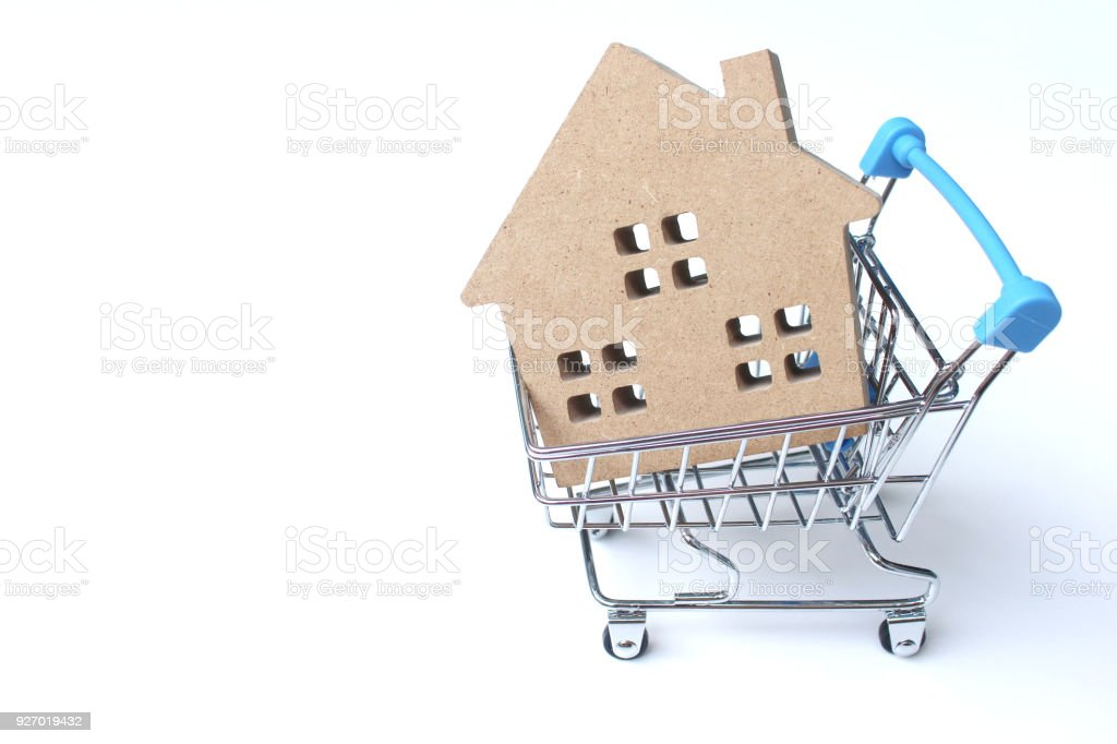 shopping cart is inside the Home Model on a white background stock photo