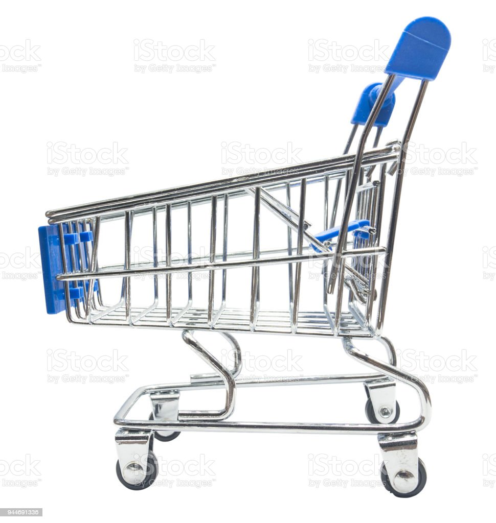 Shopping cart, isolated on white with stock photo