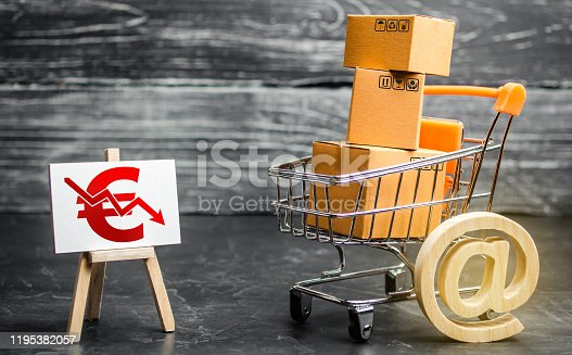 642250754 istock photo Shopping cart loaded with boxes, email symbol and euro red down arrow. Reduced online sales over Internet. Fall purchasing power. Price reduction. High competition. Low profits return on investment 1195382057