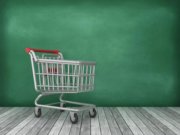 Einkaufswagen auf Tafelhintergrund - 3D Rendering – Foto