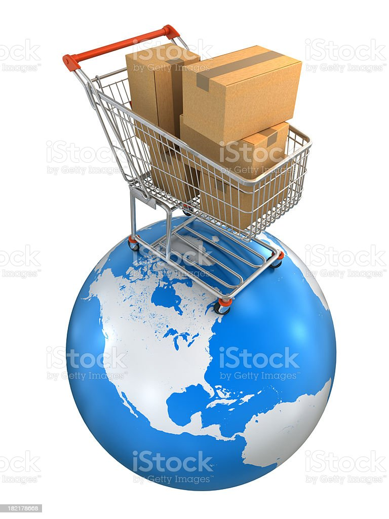 Shopping cart on earth - isolated white, clipping path included royalty-free stock photo