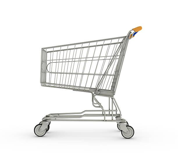 shopping cart on white background - sepet stok fotoğraflar ve resimler
