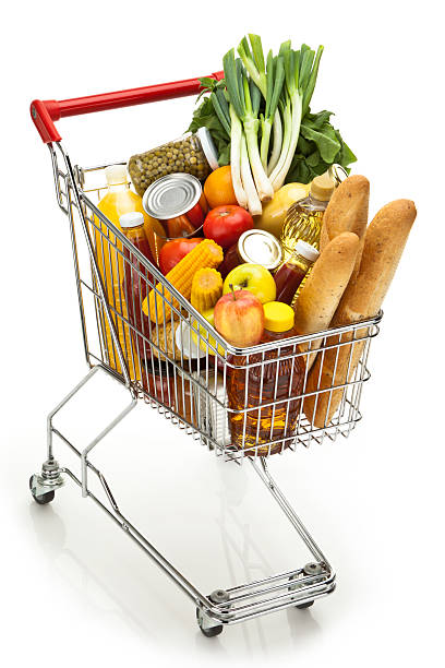 carrello acquisti - fruit juice bottle isolated foto e immagini stock