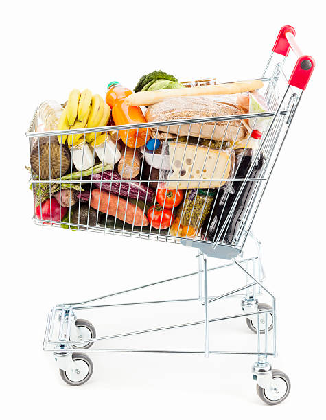 Shopping cart Shopping cart on white background full stock pictures, royalty-free photos & images