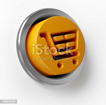 istock 3D Shopping Cart Push Button 468635067