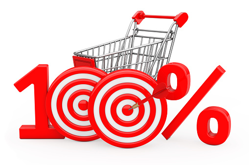 istock Shopping Cart Red 100 %  Sign as Darts Target with Darts Arrow. 3d Rendering 912665376