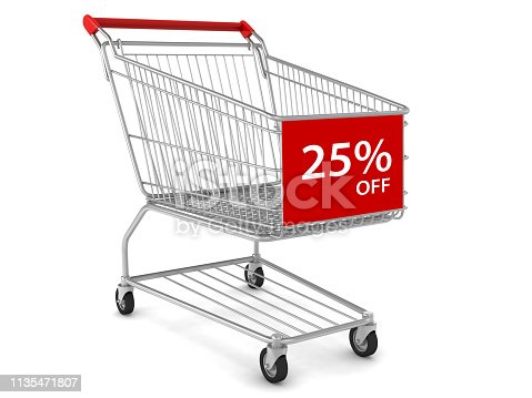 Shopping cart sale marketing 25% discount