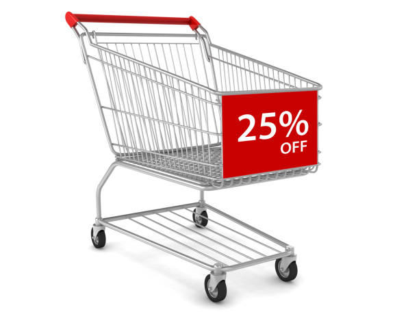 Shopping cart sale marketing 25% discount stock photo