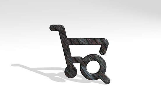 shopping cart seach casting shadow from a perspective. A thick sculpture made of metallic materials of 3D rendering