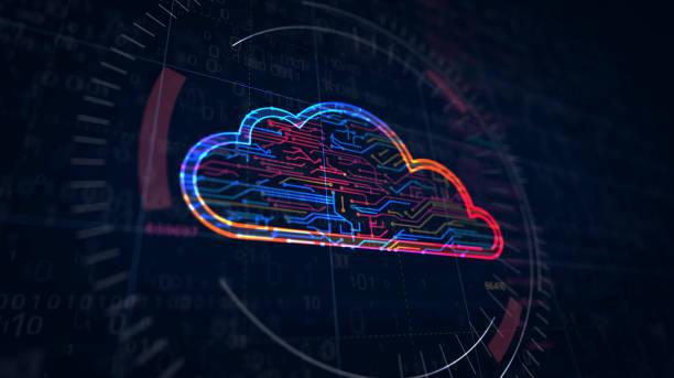 símbolo del carro de la compra esbozo futurista - nube fotografías e imágenes de stock