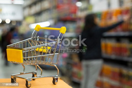836871040 istock photo Shopping cart view in Supermarket aisle with product shelves abstract blur defocused background stock photo 1196969906