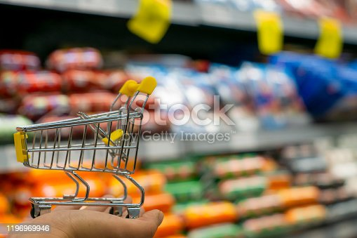 836871040 istock photo Shopping cart view in Supermarket aisle with product shelves abstract blur defocused background stock photo 1196969946