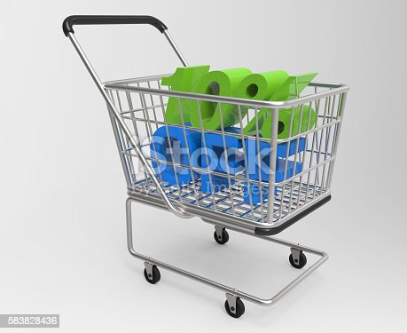 istock Shopping cart with 10% off 583828436